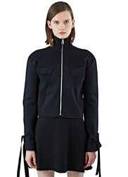 J.W.Anderson Ribbed Knit Flared Sleeve Biker Jacket Black