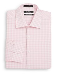 Saks Fifth Avenue Slim Fit Gingham Cotton Dress Shirt Pink