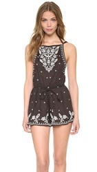 Star Mela Avi Embroidered Romper Faded Black Ecru