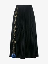 Christopher Kane Floral Embroidered Pleated Skirt Black Green Blue Grey