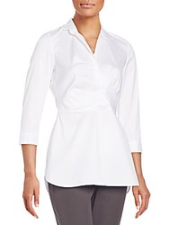 Lafayette 148 New York Ginger Faux Wrap Blouse White