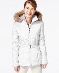Rampage Faux Fur Trim Belted Puffer Coat White