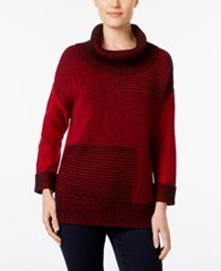 Styleandco. Style Co. Striped Ribbed Cowl Neck Sweater Only At Macy's Red Amore Deep Black