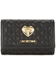 Love Moschino Quilted Flap Closure Wallet Black