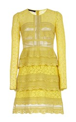 Burberry Pale Citrus Tiered Chantilly Lace Shift Dress Yellow