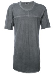 Lost And Found Ria Dunn Stitch Detail 'Inset' T Shirt Grey