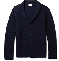Faconnable Knitted Cotton Jacket Blue