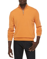 Neiman Marcus Cashmere Cloud Quarter Zip Sweater Orange