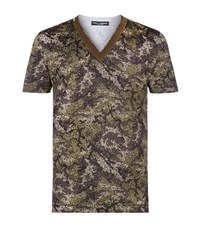 Dolce And Gabbana Camouflage V Neck T Shirt Male Green