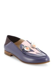 Fendi Faces Studded Leather Loafers Blueberry