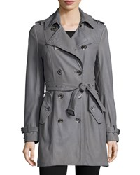 Neiman Marcus Julia Double Breasted Leather Trenchcoat Gray