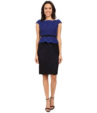 Adrianna Papell Bi Color Lace Wrap Peplum Dress Cobalt Black Women's Dress Blue