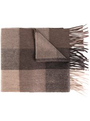 Paul Smith Checked Scarf Brown