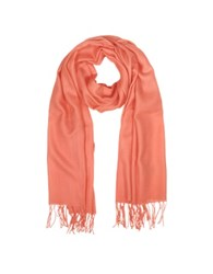 Mila Schon Wool And Cashmere Fringed Stole Salmon