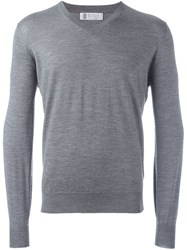 Brunello Cucinelli V Neck Fine Knit Jumper Grey