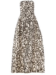 Oscar De La Renta Sequin Embellished Strapless Dress White