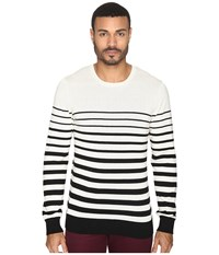 Ag Adriano Goldschmied Tanner Crew Neck Sweater Trench Stripe City Fog Black Men's Sweater White