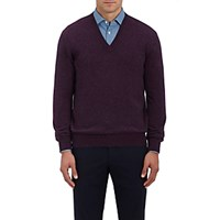 Barneys New York Men's Cashmere V Neck Sweater Purple