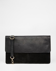 Warehouse Leather And Suede Cross Body Bag Black