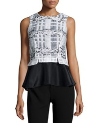 Prabal Gurung Sleeveless Jewel Neck Peplum Blouse Black White