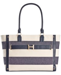 Tommy Hilfiger H Belted Rugby Stripe Tote Navy Natural