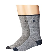 Timberland Marled 2 Pack Crew Socks Navy Black Men's Crew Cut Socks Shoes Blue