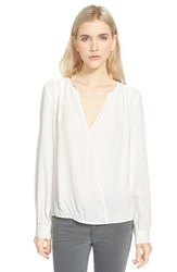 Trouve Women's Trouve Surplice Zip Cuff Blouse White Snow