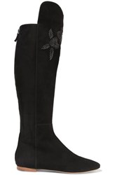 Aerin Embroidered Suede Knee Boots Black