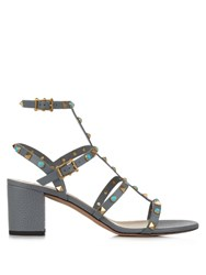 Valentino Rockstud Rolling Leather Sandals Grey Multi