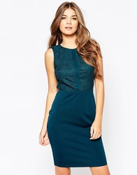 Poppy Lux Senna Dress With Lace Insert Teal Blue