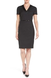 Boss Women's 'Deresi' Belted Short Sleeve Wool Sheath Dress