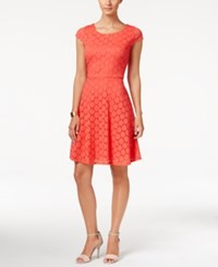 Ronni Nicole Cap Sleeve Lace Fit And Flare Dress Coral