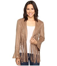 Union Of Angels Shawna Fringe Jacket Tan Women's Coat