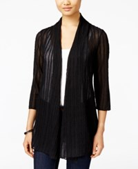 Jm Collection Petite Open Front Textured Cardigan Only At Macy's Deep Black