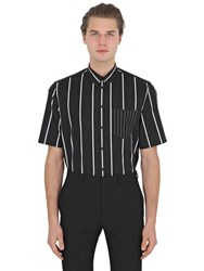 Givenchy Striped Cotton Poplin Short Sleeve Shirt