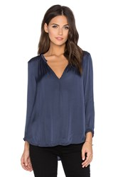 Velvet By Graham And Spencer Haven Satin Viscose V Neck Top Blue