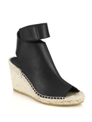 Vince Seymour Espadrille Wedge Open Toe Leather Booties Woodsmoke