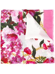 Dolce And Gabbana Floral Print Scarf Pink Purple