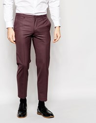 Heart And Dagger Cropped Wool Trousers In Super Skinny Fit Red