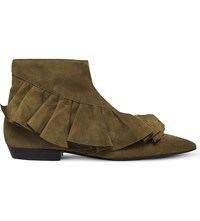 J W Anderson Ruffle Suede Ankle Boots Khaki
