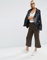 Asos Luxe Cropped Wide Leg Trousers With Side Stripe Brown