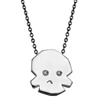 Delphine Leymarie Mini Skull Diamond Necklace Sterling Silver
