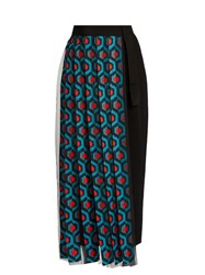 Delpozo Pleated Tulle And Crepe Front Wool Trousers Blue Multi