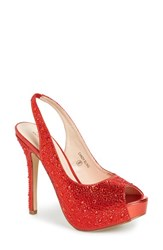 Women's Lauren Lorraine 'Candy' Crystal Slingback Pump Red Fabric