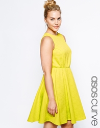 Asos Curve Textured Skater Dress With Cross Hatch Detail Lime