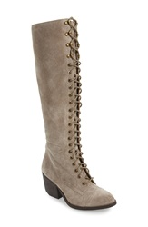 Jeffrey Campbell 'Kandace' Lace Up Tall Boot Women Taupe Distressed Suede