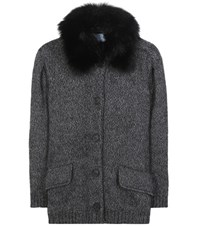 Prada Fur Trimmed Angora And Wool Cardigan Grey