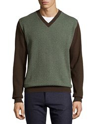 Luciano Barbera Cashmere Herringbone V Neck Sweater Brown Green