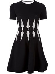 Alexander Mcqueen Intarsia Skater Dress Black
