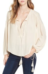 Astr Women's 'Ida' Split Neck Blouse Vintage Cream